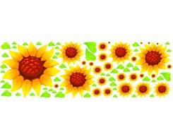 סט מדבקות פרח חמנייה +עלים בחיתוך צורני