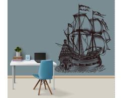 מדבקת קיר ספינת מפרש לחדר מתבגרים