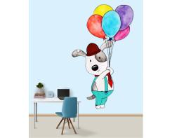 מדבקת קיר של דובי עם בלונים לחדר ילדים