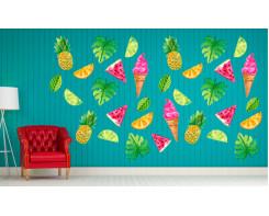 מדבקות קיר של פירות וגלידות לסלון