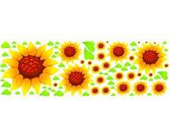 מדבקות פרח חמנייה +עלים