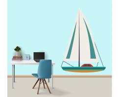 מדבקת קיר סירת מפרש לחדר מתבגרים