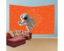 לונג- טפט בד לקיר בסגנון אסטרונאוט משוכפל3